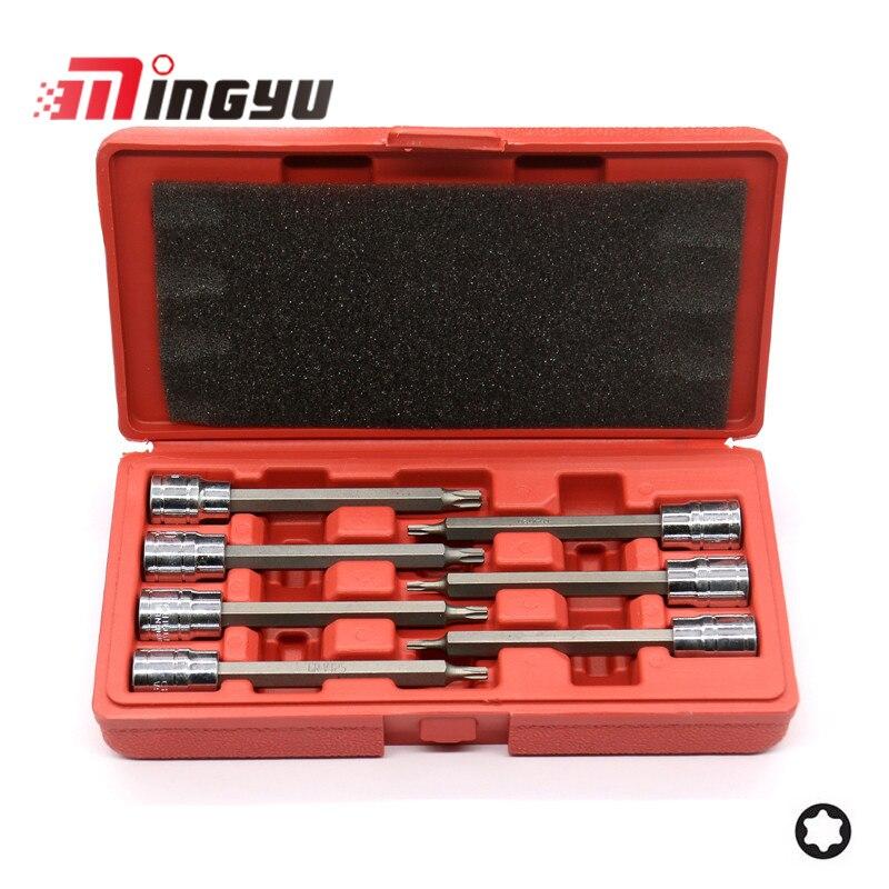 7pcs Star Extra Long Trox Bit Socket 110mm 3/8 Inch T10 T15 T20 T25 T27 T30 T40 Impact Nut Driver Bit Set Auto Car Repair Tool