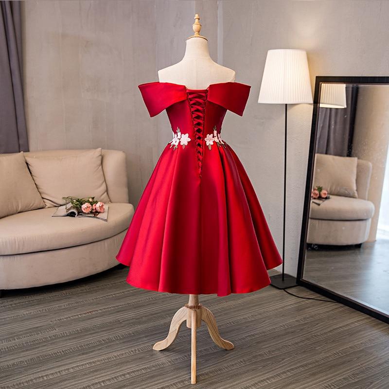 Op voorraad Echt foto rood boothals Korte mouw Plus size prom dresses - Jurken voor bijzondere gelegenheden - Foto 2