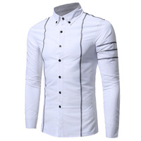 Autumn And Winter Men S Long Sleeved Shirt Striped Print Lapel Large Casual Shirts