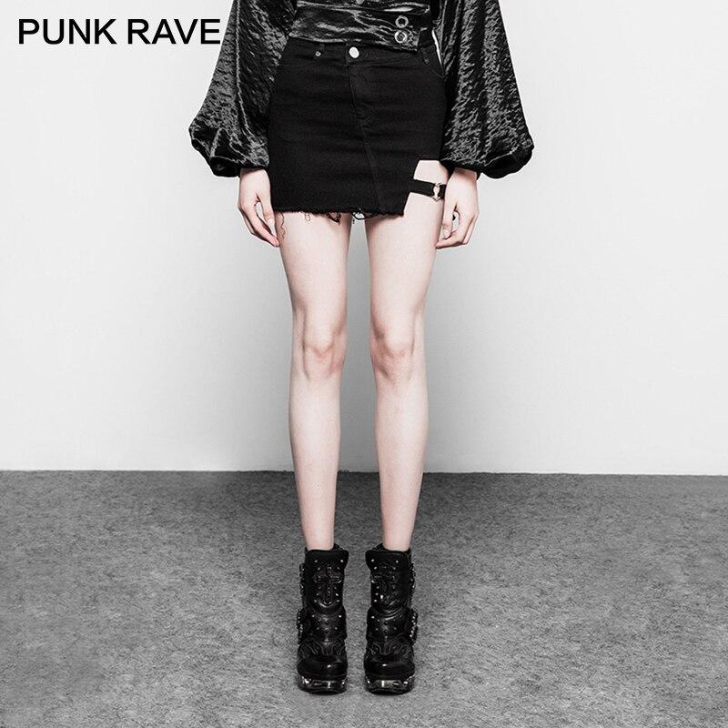 PUNK RAVE Punk Rock Women Dark Heart Shape Stretch Denim Skirt Cotton Clothing Sexy Club Asymmetrical Cut Out Mini Short Skirt