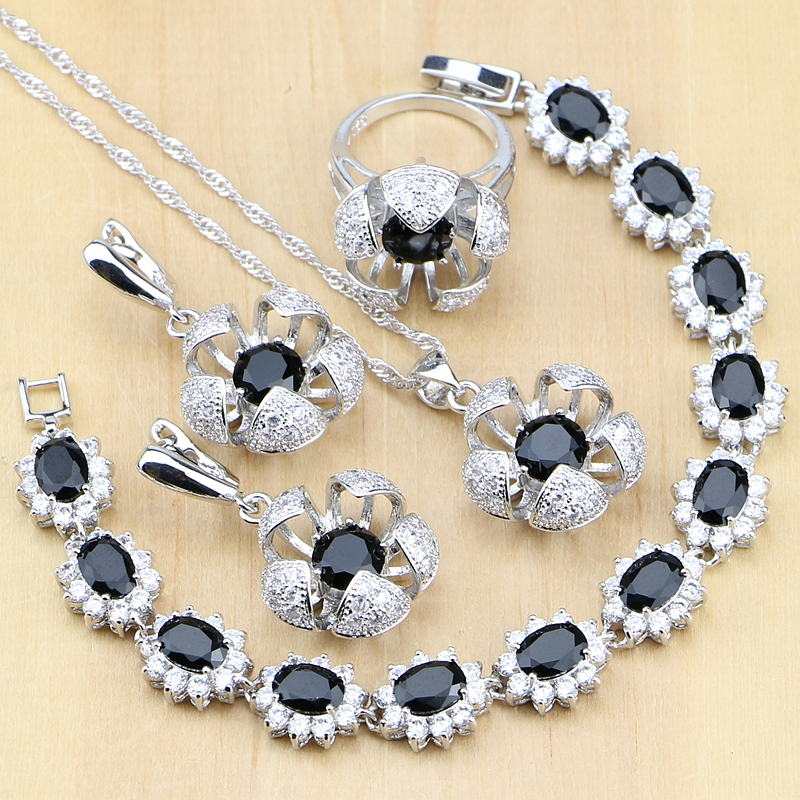 Brautschmuck Sets Blume Geformt 925 Sterling Silber Schmuck Schwarz Weiß Cz Schmuck-sets Für Frauen Ohrringe/anhänger/ringe/armband/halskette Set