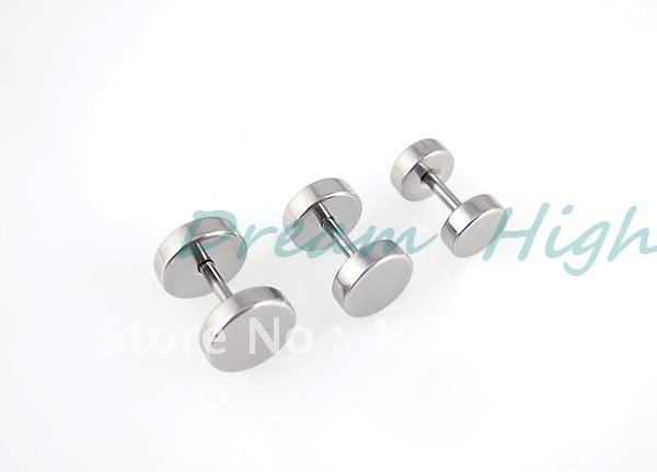 Barbell Earring smooth Ear Piercing 50pcs/lot Ear Ring Fashion Body Piercing Jewelry Round 316l Stainless steel silver color