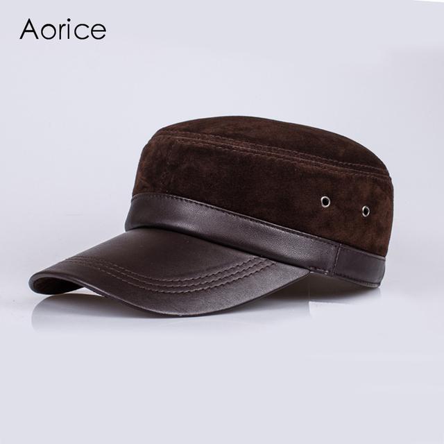 HL026 Nuevo cuero genuino sombrero/cap marca gorras de béisbol/sombreros de piel de cordero de piel de oveja de cuero Nobuck gamuza Sonrisa sombrero/cap