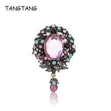 TANGTANG Large Brooch Pendant Pink Acrylic Oval Stone Antique Golden Women Brooch Pin Classic Flower Opal Rhinestone Jewelry Pin цена 2017