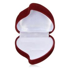 Red Heart Shaped Velvet Ring Box