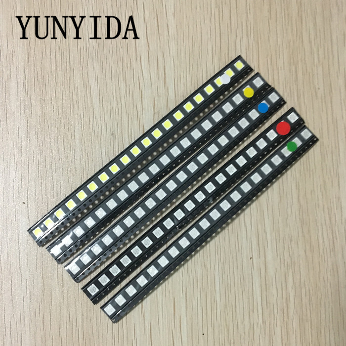 100 pz = 5 colori x 20 pz 5050 5730 1210 1206 0805 0603 LED Diode Assortimento SMD LED Diodo Kit Verde/ROSSO/Bianco/Blu/Giallo
