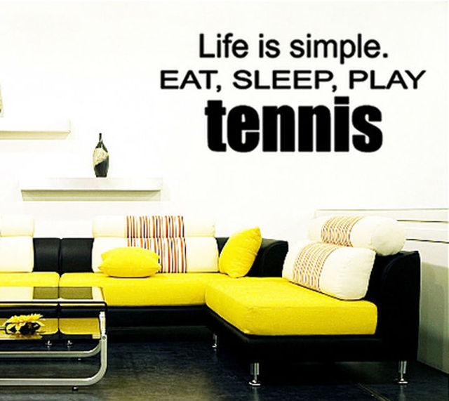 Play Tennis Leven Is Eenvoudige Eet Slaap woorden Muurstickers voor ...