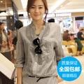 V-neckreal oferta especial venda promoção vestido de linho 2014 verão Novo comércio de algodão casaco solto camisa roupas femininas