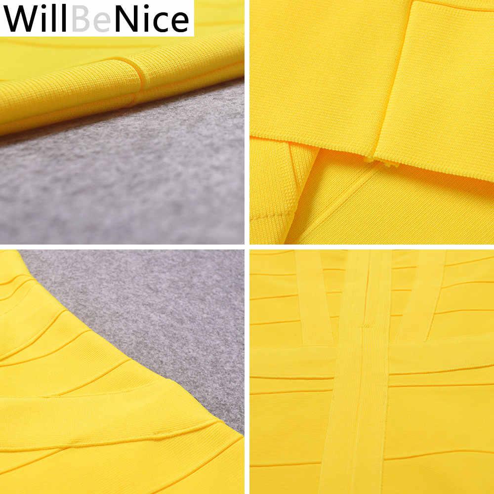 WillBeNice/2018 Новое поступление, желтое платье до середины икры на бретельках с v-образным вырезом, сексуальное женское длинное праздничное Бандажное платье, платья