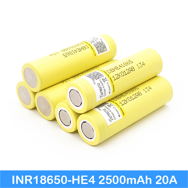accu 18650 he4 2500mAh Li-lon Battery NEW 18650 he43.7V Max 20A,35A discharge he4 battery power tools ...