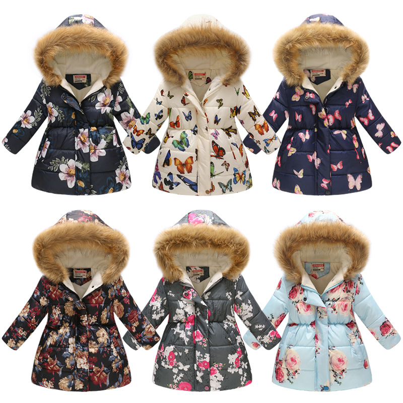 купить Kids Girls Jacket 2018 Autumn Winter Jacket For Girls Coat Baby Warm Hooded Outerwear Coat Girls Clothing Children Down Parkas по цене 859.49 рублей