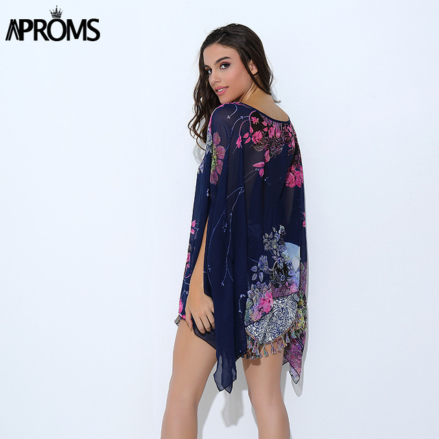 bf74ebe8d3ca4 ... Batwing Sleeve Chiffon Blouse Women Casual Floral Print Loose Kimono  Shirts Big Size Beach Tunic Tops Peplum Blusa Robe. Previous. Next