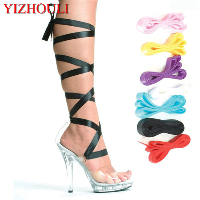 13cm sexy strap ribbon Crystal shoes toe ladies Platform clear sandals pole  dancing high heel shoes 68cc69af1346