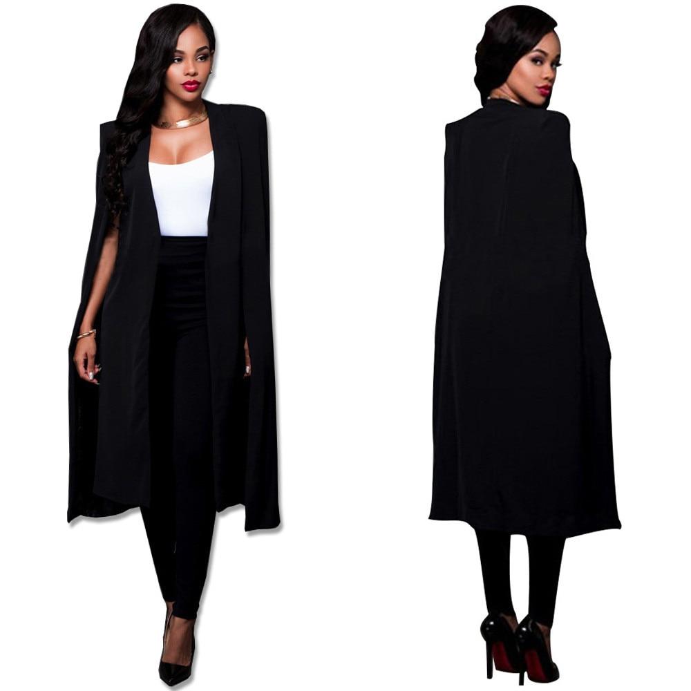 Fashion 2019 Spring Women Elegant Blazer Long Solid Binding Open Front Cape Work Blazer White Black Casual Outerwear