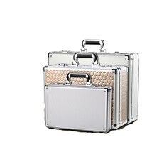 portable aluminum Aluminum alloy portable password toolbox document file makeup storage organizer confidential mobile cash safety box flight case (1)