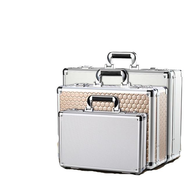 Aluminum alloy portable password toolbox document file makeup storage organizer confidential mobile cash safety box flight case