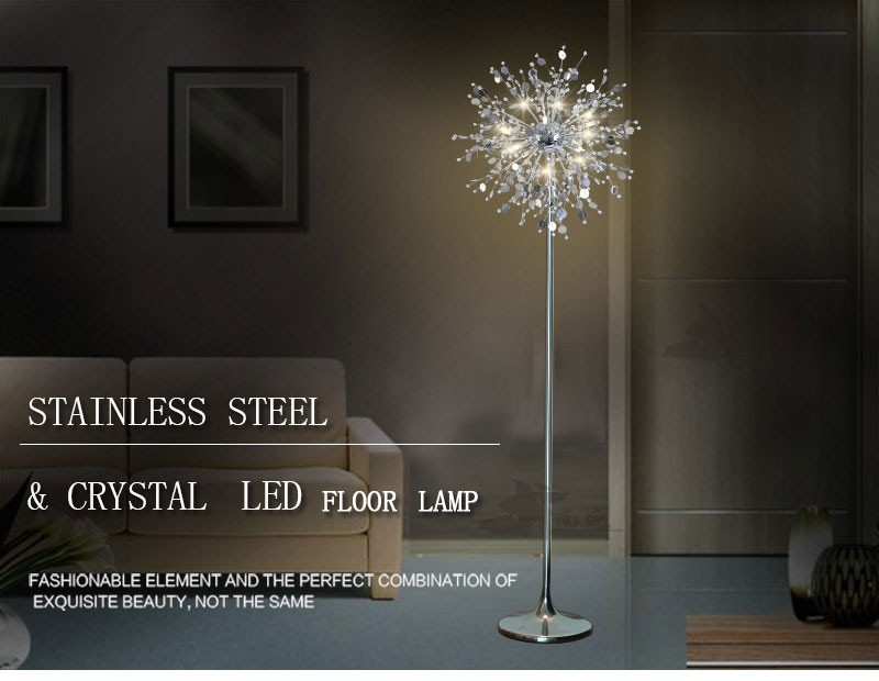 Modern crystal standing lamp stainless steel led floor lamps for