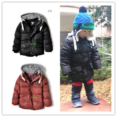 SPEICIAL OFFER 2016 AUTUMN WINTER BOYS WINTER COAT SOLID COLOR HOODIES ZA KIDS DOWN OUTWEARS THICK KIKIKIKIDS JACKETS COAT