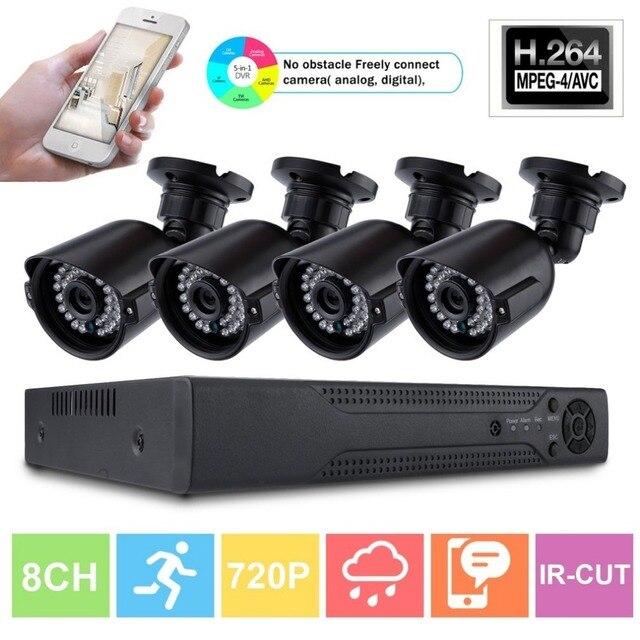 8CH безопасности дома 4 шт. монитор Камера 1080N AHD DVR 1280TVL Ночное видение Крытый видеонаблюдения безопасности Системы комплект