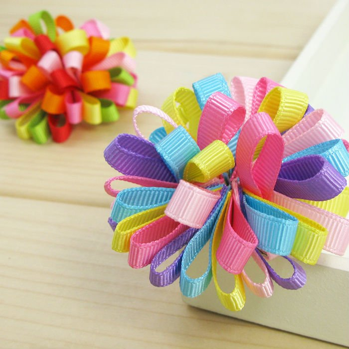 "50pc/Lot (2"" 12color) kids girl hair clips Ribbon bows ..."