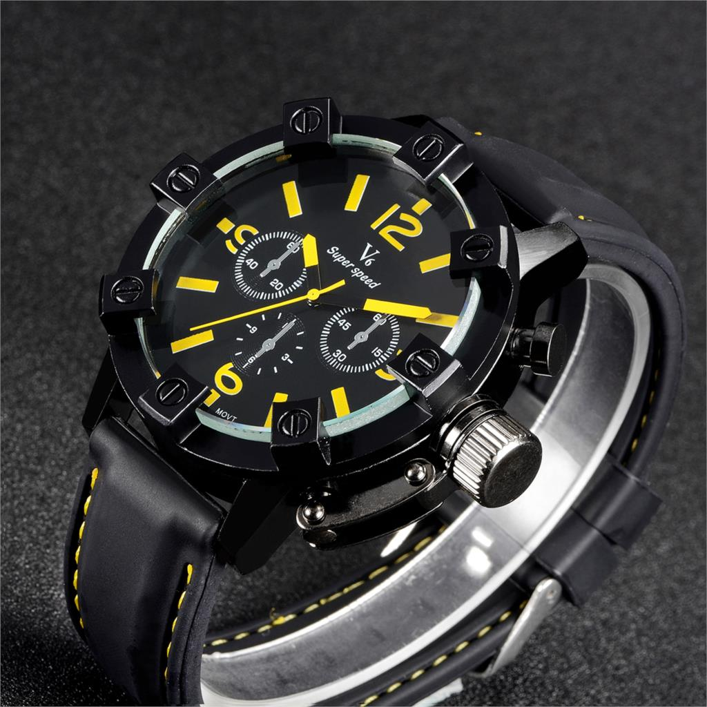 V6 Military Sport Watch Men Top Brand Luxury Famous silicone Strap quartz Wrist Watch For Men