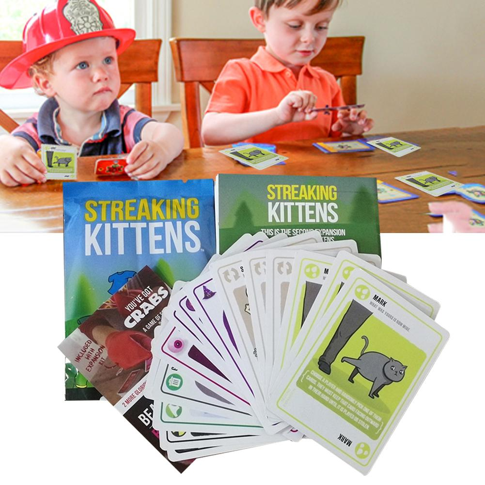 Streaking Kittens Board Game Cards Funny Games Happy Drinking Game Cards Children Kids Puzzle Paper Cards(China)