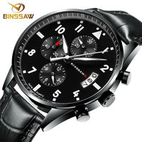 BINSSAW 2016 new men luxury fashion waterproof 100 m China_ brand authentic leather super luminescent quartz Sports wrist watch