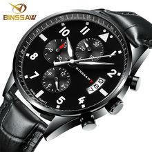 BINSSAW 2016 nouveaux hommes de luxe de mode étanche 100 m Chine _ marque authentique en cuir super luminescent quartz poignet montre de Sport