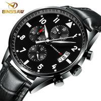 BINSSAW2016 New Men Luxury Fashion Waterproof 100 M China Brand Authentic Leather Super Luminescent Quartz Sports