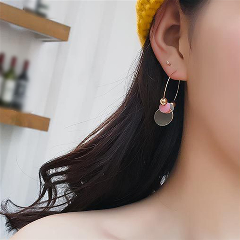 The Best Geometric Triangle Hoop Earrings For Women Red Black Gray Green Embellishment Long Tassel Jewelry Female Earring Pendientes R4