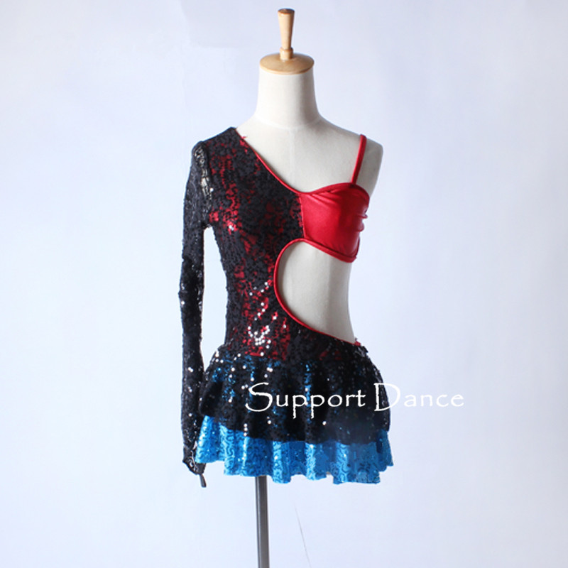 Girls Sequin Lace Latin Dress Women Sexy Contemporary Performance Costume Support Dance C331