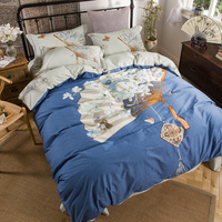 Traditional China Painting Bedding Set Queen Size King Size Quilt Cover Bed Sheets 100% Cotton Print Home Textiles
