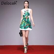 Delocah Women Spring Summer Dress Runway Fashion Designer Sleeveless Gorgeous Beading Cactus Printed Slim Modern A-Line Dresses