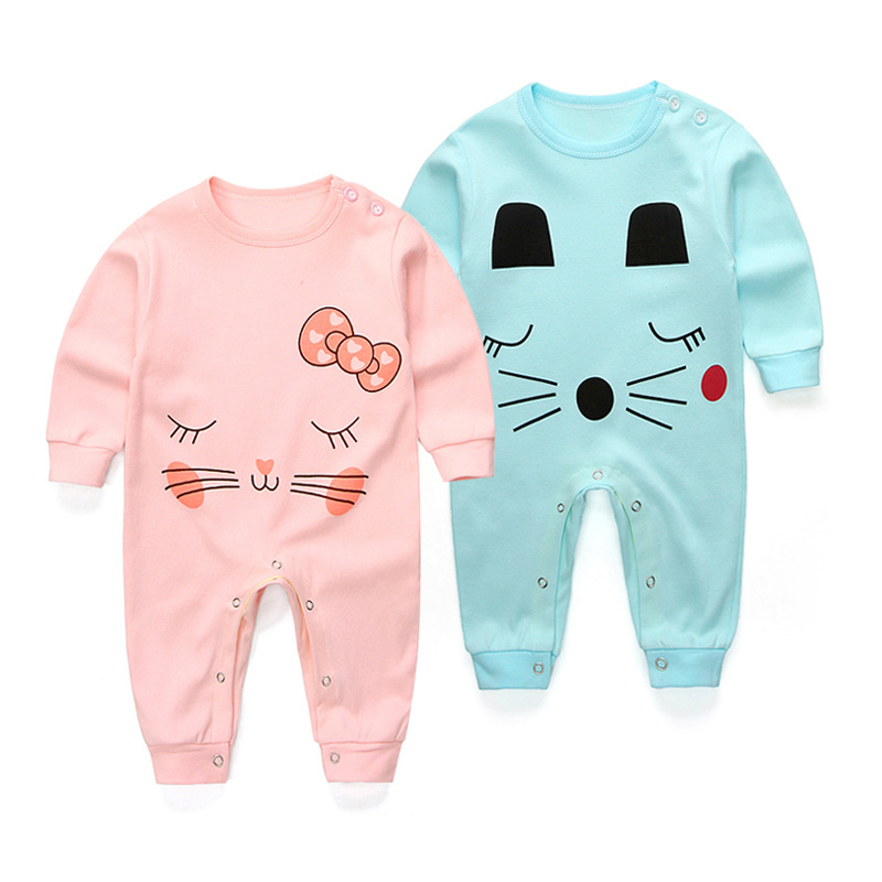 2017 Spring summer Newborn Cartoon Rompers Baby Clothes Girls cotton long Sleeve Clothing  Boy Jumpsuits Infant Costume strip baby rompers long sleeve baby boy clothing jumpsuits children autumn clothing set newborn baby clothes cotton baby rompers