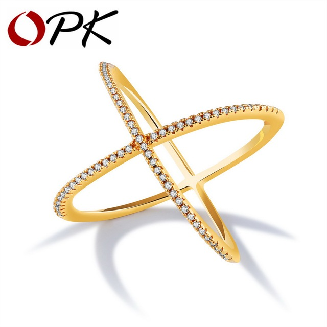 OPK Vintage Cross X Shape Rings For Women Gold Color Inlaid Micro