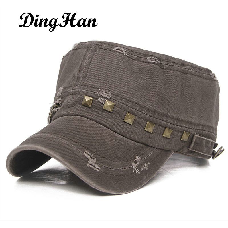 [DingHan] NEW Summer casual Hats Baseball Caps flat top Snapback hats for Women zipper rivet Army Hats Gorras travel Sun Shading brand kenmont new summer hats for women 100