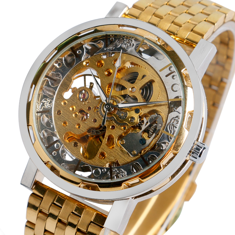 Mens Watches Gold Luxury Full Stainless Steel Mechanical Watch  Wrist Watch Skeleton Automatic Men Golden Clock Hour 2016 New original binger mans automatic mechanical wrist watch date display watch self wind steel with gold wheel watches new luxury