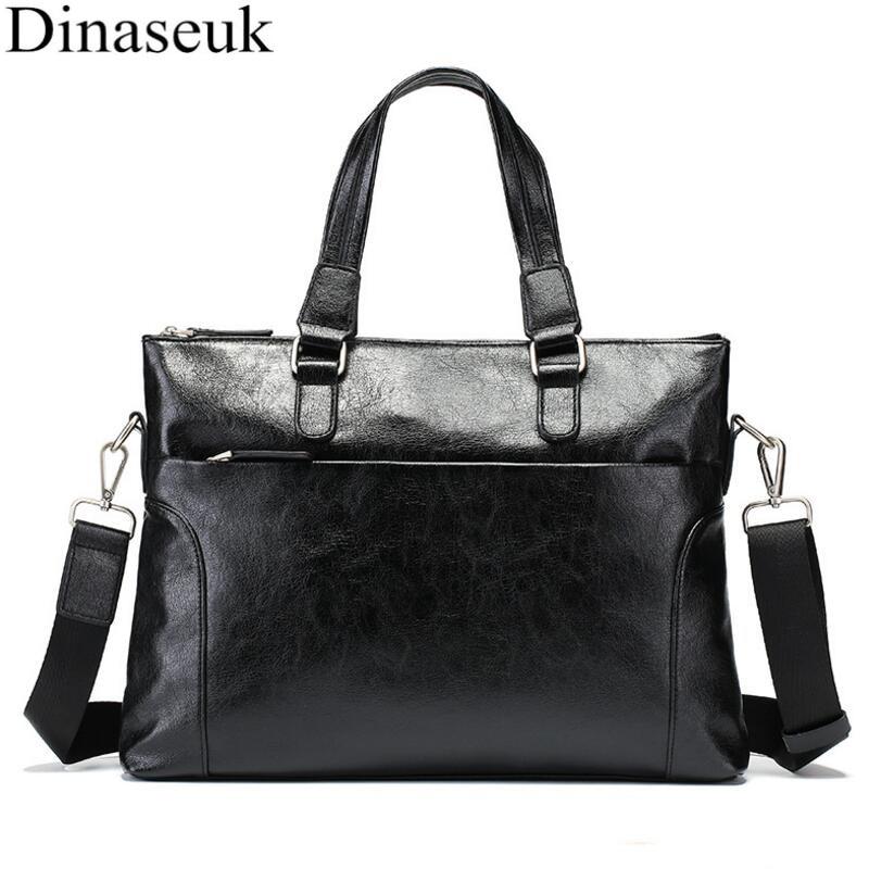 Promotion Simple Famous Brand Business Men Briefcase Bag Luxury Leather  Laptop Bag Man Shoulder Bag Travel Office bolsa maleta e5e4db1f315c6