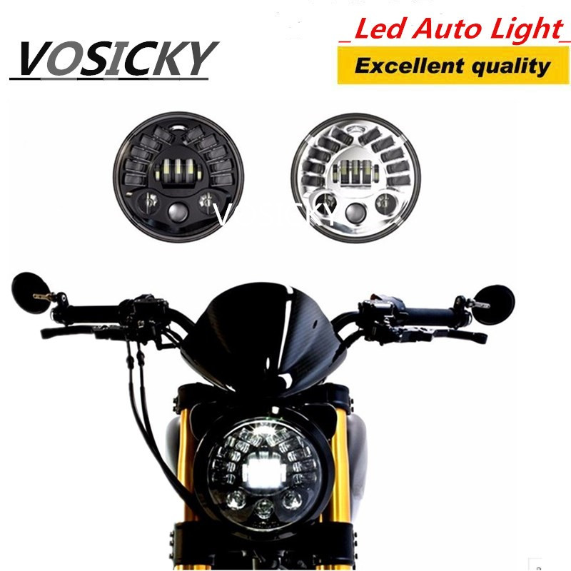 VOSICKY 7 inch Motorcycle led headlight 75W High Low Beam Light DRL for harley or for jeep JK to 7 to 15 floodlight debate 1x 75w 7 headlight motorcycle black high low beam 7inch round daymaker led head light head lamp drl for harley davidson jeep jk