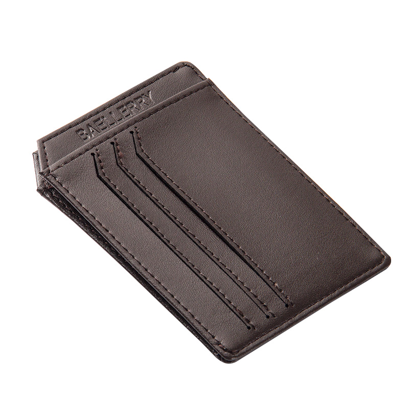 Fashion New Solid Color Hot Sale  Leather Pattern Men ID Holder 2 Layer Slim Photo Card Holder Bank Credit Card