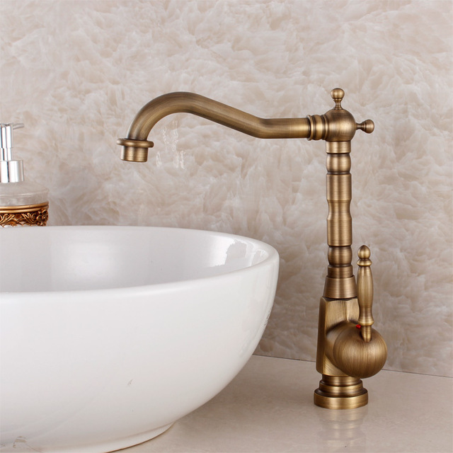 Antique Brass Single Lever Handle Swivel Kitchen Bathroom Sink Basin Faucet Mixer Taps aan036Antique Brass Single Lever Handle Swivel Kitchen Bathroom Sink Basin Faucet Mixer Taps aan036
