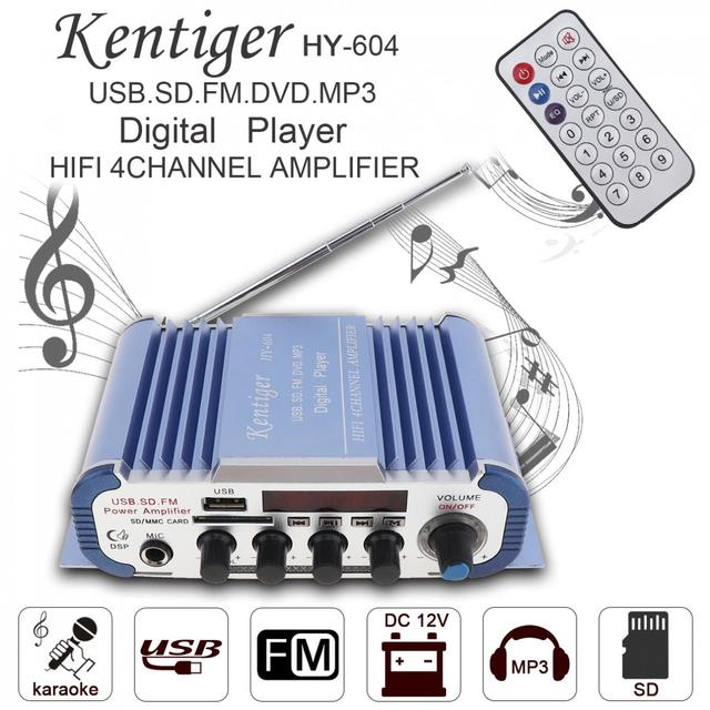 Best Price Kentiger 12V Hi-Fi Auto Car Audio Power Amplifier FM Radio Player Reverberation Function Support USB SD DVD with Remote Control