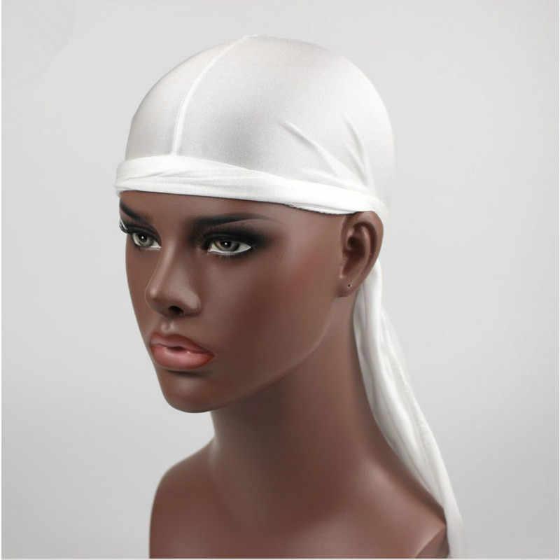 Saten Erkekler Sıkı Kap Hip Hop Du Doo Bez Durag Peruk Türban Bandana Şapkalar Düz Renk uzun Şapka Kravat Aşağı kuyruk saç aksesuarları