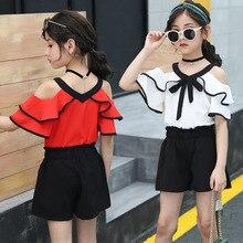kids clothes Girls summer suit 2019 new girls skirt strapless V-neck bat sleeve shirt black pants