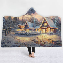 Christmas Theme Pattern Hooded Blanket Soft Plush Fashion Cape Hat Throwing Sherpa Blanket Bedding Home Decor(China)