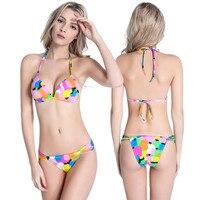 Discount Bademode Frauen Padded Halfter Badeanzug Push Up Bikini Beachwear Krawatten Hals-bindung Badeanzug Biquini HQDM074