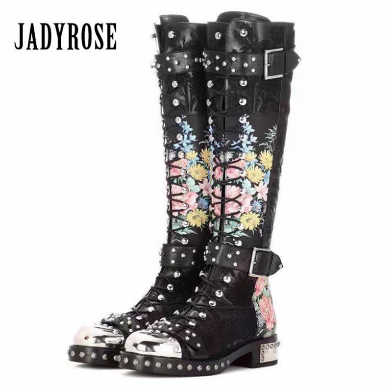 JADY ROSE Punky Style Women Knee High Boots Rivets Studded Riding High Boots Female Autumn Platform Lace Up Flat Botas Mujer jady rose women mid calf boots rose red vinatge riding boots lace up flat shoes woman platform botas militares rivets long boot