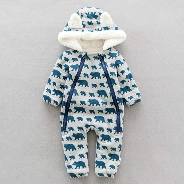 cdacbfdc1 Online Shop Warm Fleece baby boy winter clothes Baby Rompers Bear ...