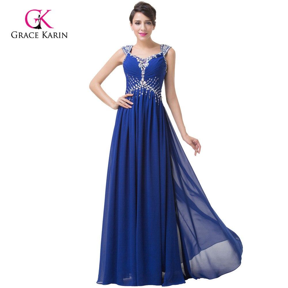 Royal Blue Evening Dresses 2018 Grace Karin Elegant Cap Sleeve ...