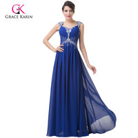Royal Blue Evening Dresses 2018 Grace Karin Elegant Cap Sleeve Chiffon Pageant Gown Beading Lace Up Evening Dress for Wedding